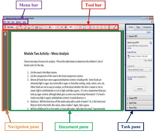 Adobe Reader user interface.